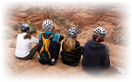 Family ride into Arches National Park